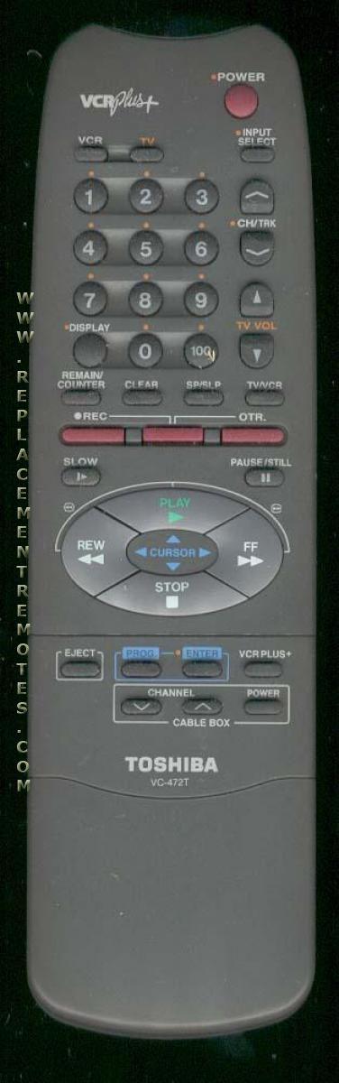 TOSHIBA VC472T VCR Remote Control
