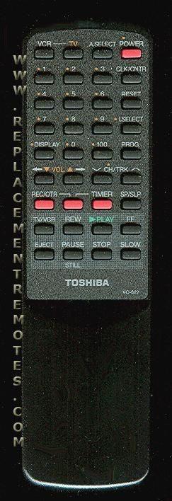 TOSHIBA VC622 TV/VCR Combo Remote Control