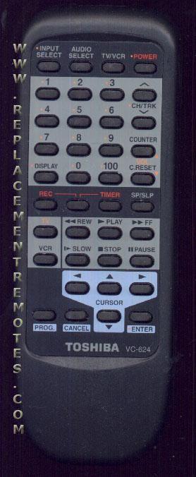 TOSHIBA VC624 VCR Remote Control