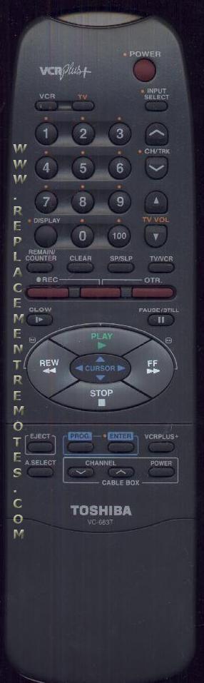 TOSHIBA VC683T VCR Remote Control
