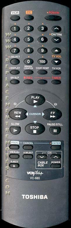TOSHIBA VC685 VCR Remote Control
