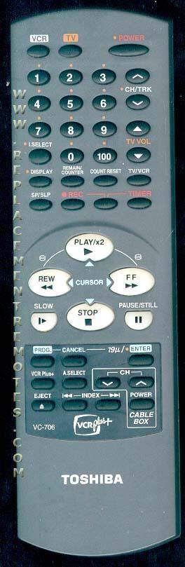 TOSHIBA VC706 VCR Remote Control