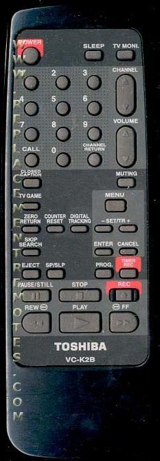 TOSHIBA VCK2B VCR Remote Control