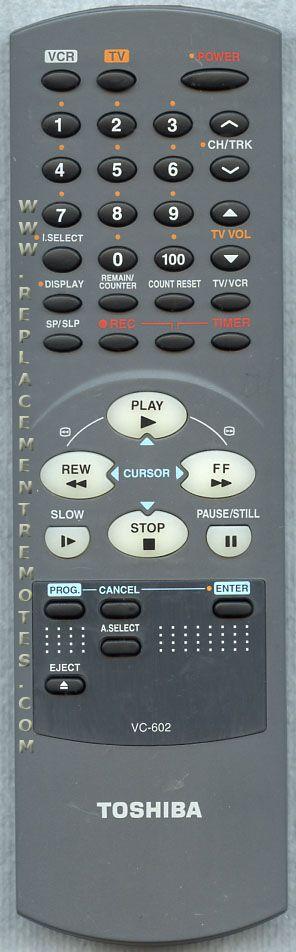 TOSHIBA VC602 VCR Remote Control