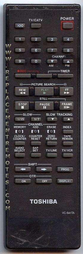 TOSHIBA VC641TA VCR Remote Control