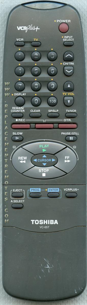 TOSHIBA VC65T VCR Remote Control