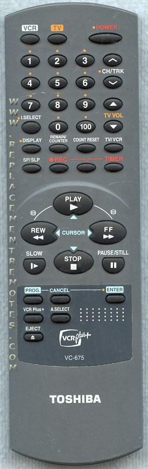TOSHIBA VC675 VCR Remote Control