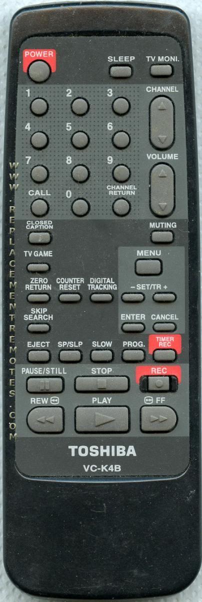 TOSHIBA VCK4B VCR Remote Control