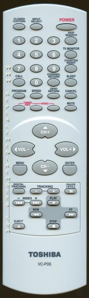 TOSHIBA VCP3S TV/VCR Combo Remote Control