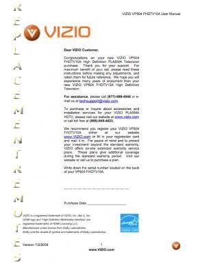 VIZIO VP504OM Operating Manual