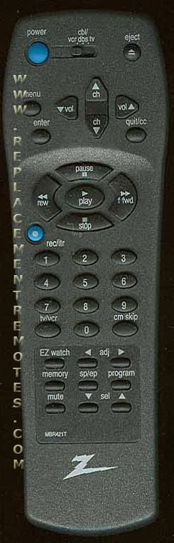 ZENITH MBR421T Remote Control