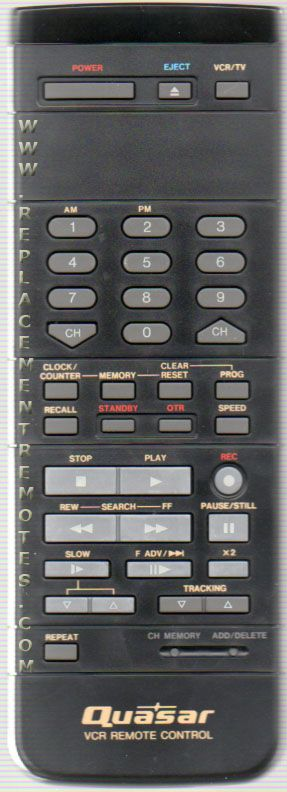 Quasar VSQS0780 VCR Remote Control