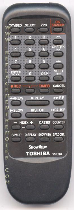 TOSHIBA VT227G VCR Remote Control