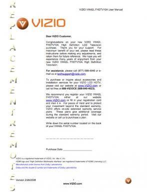 VIZIO VW42LFHDTV10AOM Operating Manual
