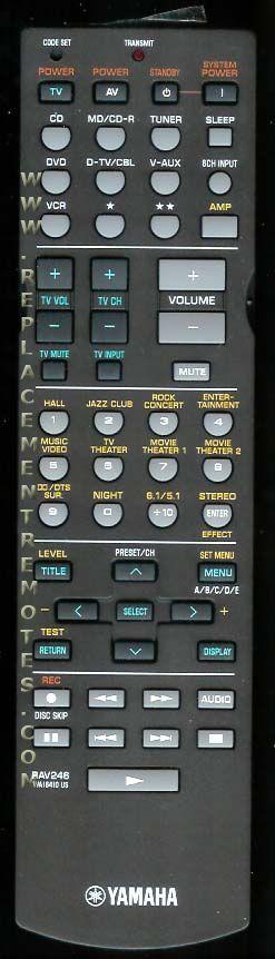 YAMAHA RAV246 Audio/Video Receiver Remote Control
