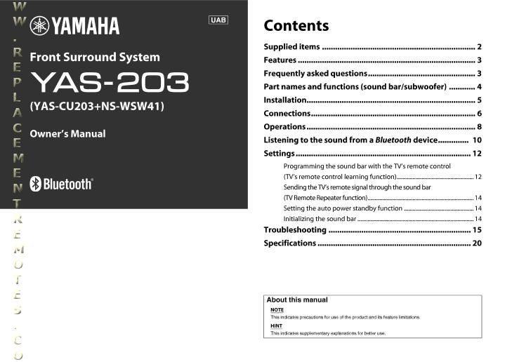 YAMAHA YAS203OM Operating Manual