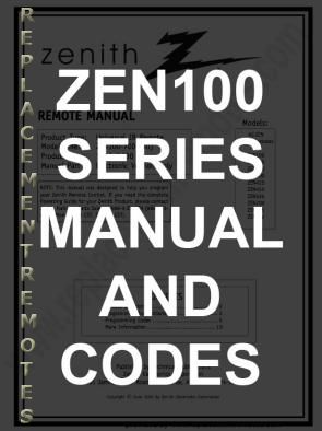 Buy Zenith Zen100 Codesom Zen100 Codes Operating Manual