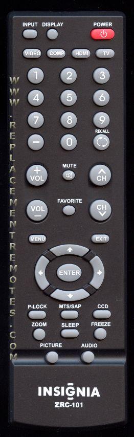Insignia Zrc 101 Remote control Manual