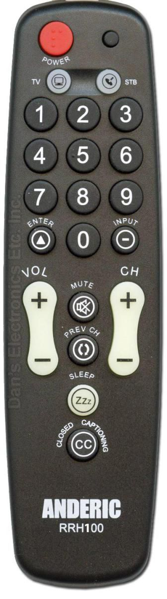 ANDERIC Simple 1 Device Universal TV Remote Control with Built in Security Cable Remote Control