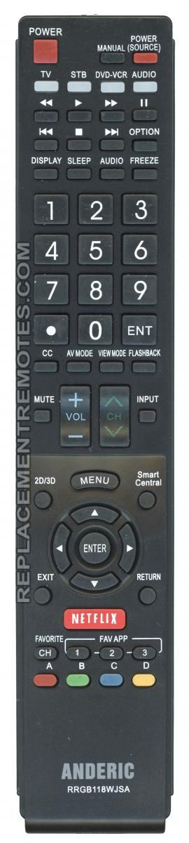 ANDERIC RRGB118WJSA for Sharp TV Remote Control