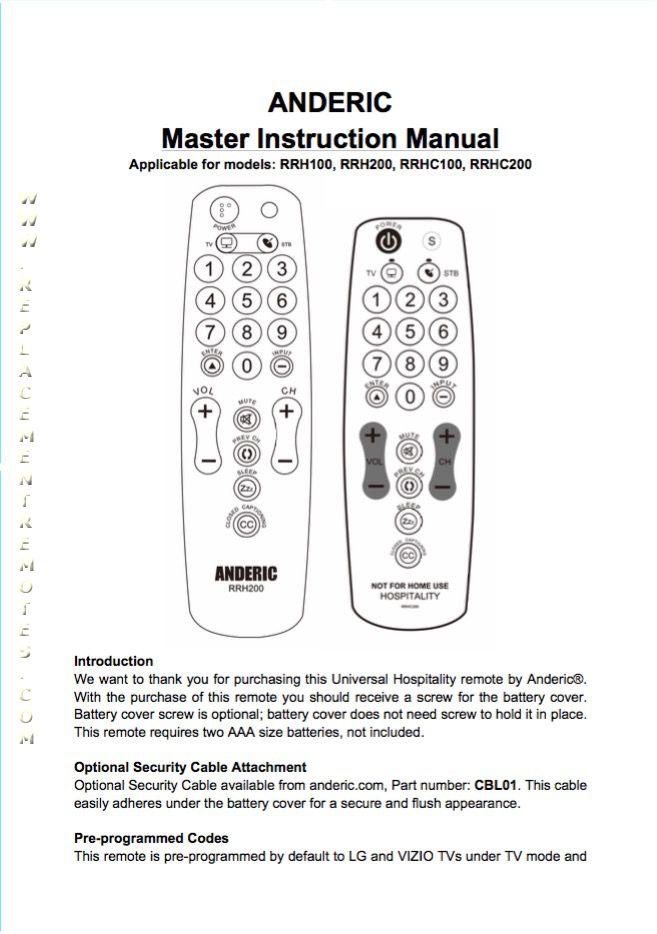 Download FREE ANDERIC RRH100/200OM Operating Manual