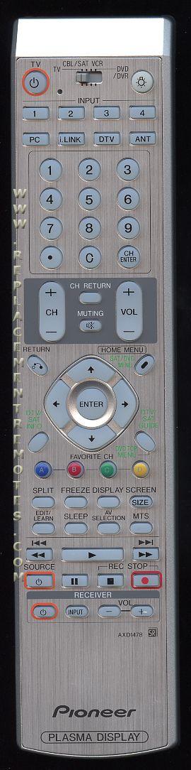PIONEER AXD1478 TV Remote Control