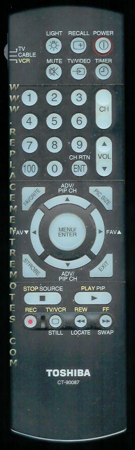 TOSHIBA CT90087 TV Remote Control