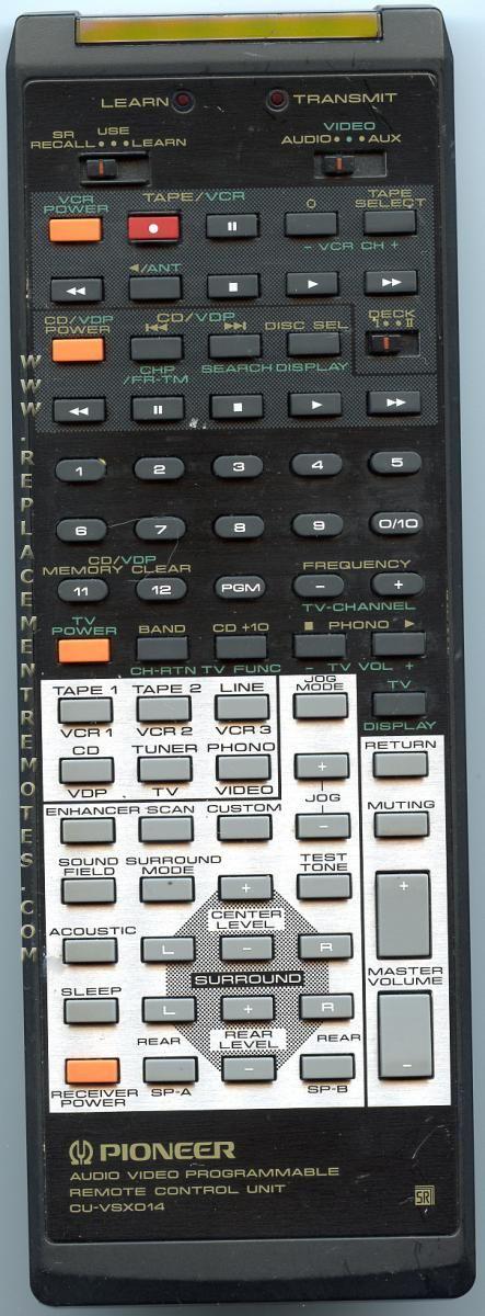 PIONEER AXD1167 Audio/Video Receiver Remote Control
