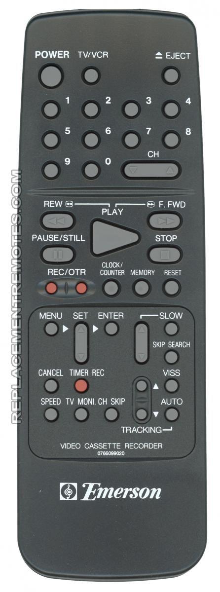 EMERSON 0766099020 VCR Remote Control