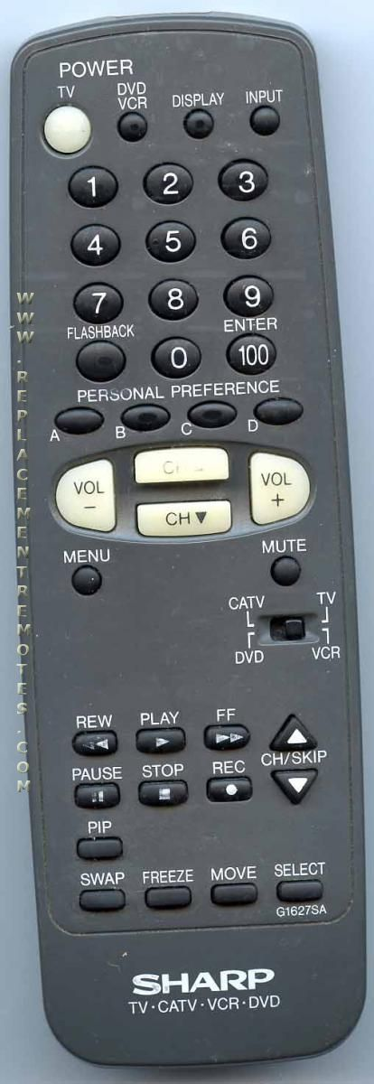SHARP G1627SA TV/VCR/DVD Combo Remote Control
