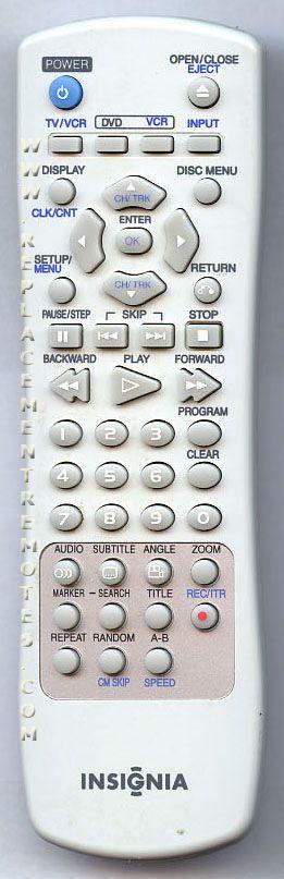 INSIGNIA 6711R1P081G DVD/VCR Combo Player Remote Control