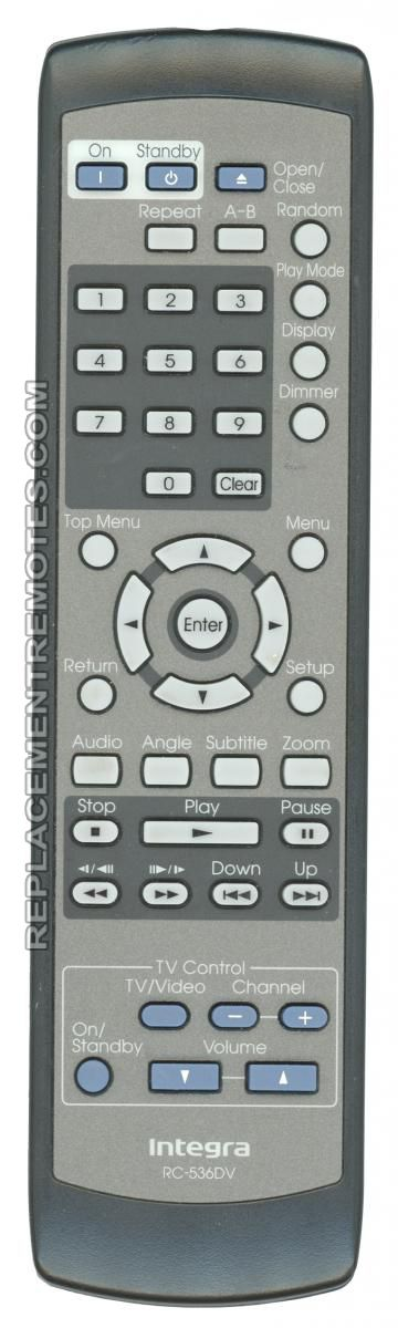 INTEGRA RC536DV DVD Player Remote Control