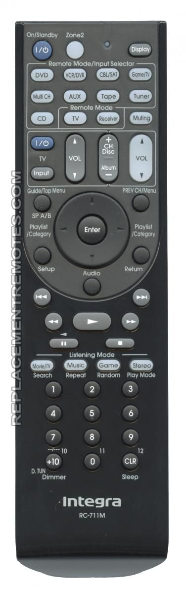 INTEGRA RC711M Audio/Video Receiver Remote Control
