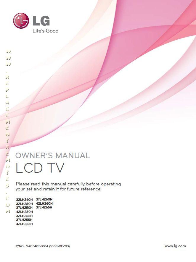 LG 32LH250HOM Operating Manual