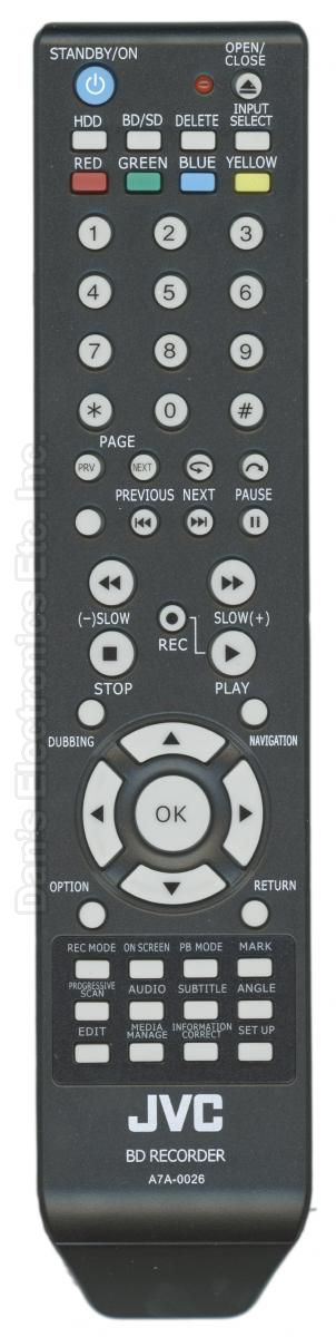 JVC A7A0026 Blu-Ray DVD Player Remote Control