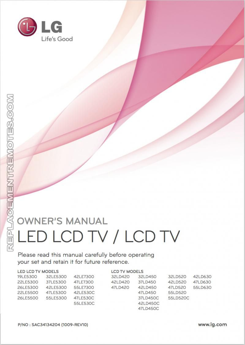 LG 19LE5300om Operating Manual