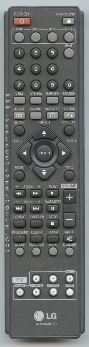 LG 6710CDAK17C Home Theater System Remote Control