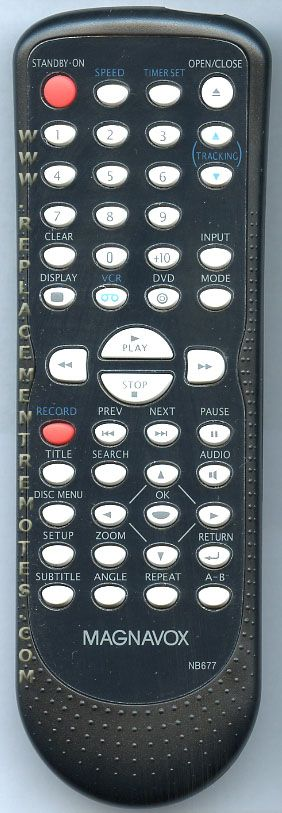 Magnavox NB677UD DVD/VCR Combo Player Remote Control