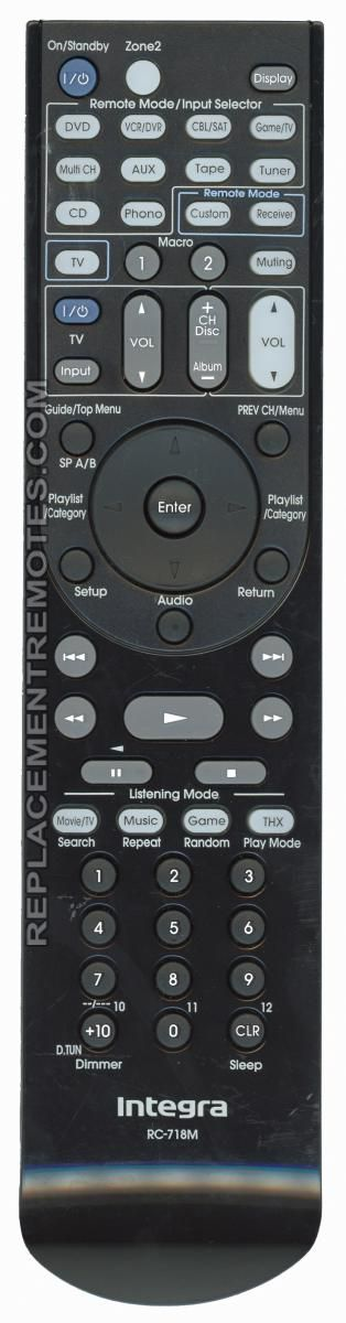 INTEGRA RC718M Audio/Video Receiver Remote Control