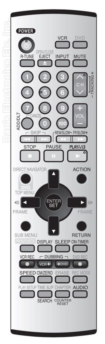 Panasonic EUR7624050 TV/VCR/DVD Combo Remote Control