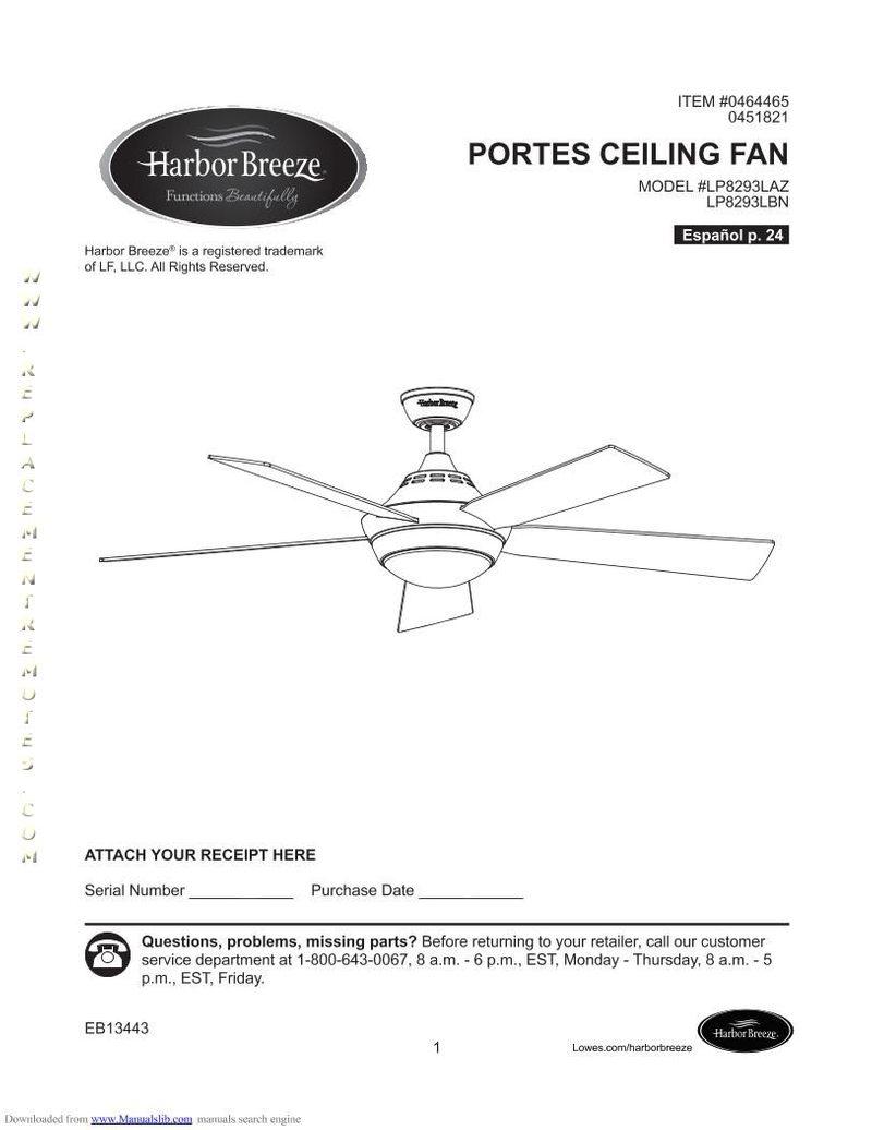 Harbor-Breeze LP8293LBNPORTESCEILINGFANOM Operating Manual