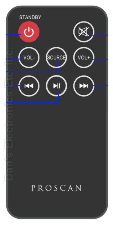 Proscan PSB3200FDPLrem Sound Bar System Remote Control