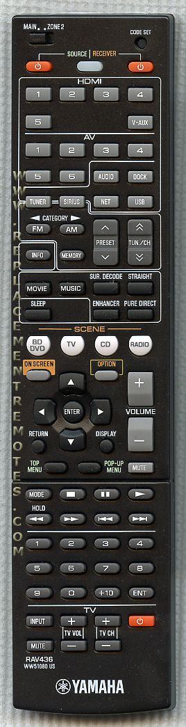 YAMAHA RAV436 Audio/Video Receiver Remote Control