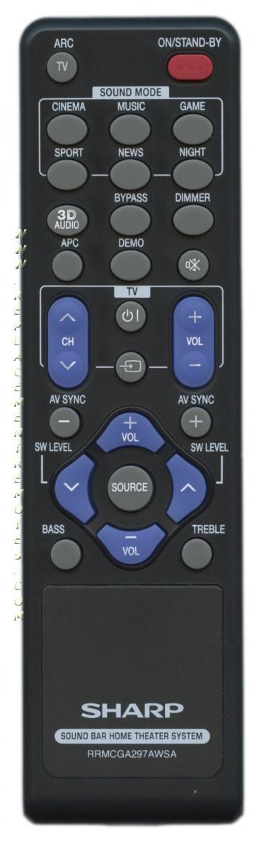 SHARP RRMCGA297AWSA Sound Bar System Remote Control