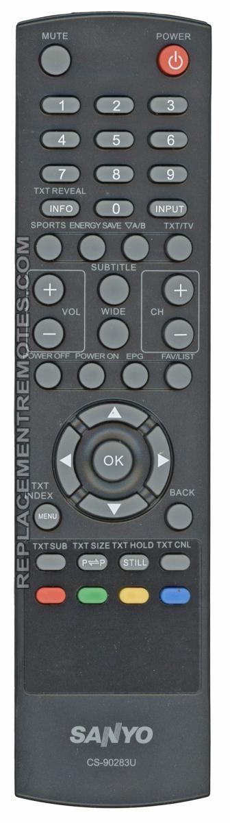 buy sanyo cs 90283u cs90283u tv remote control rh replacementremotes com sanyo tv model dp55441 manual Sanyo 55 LCD HDTV