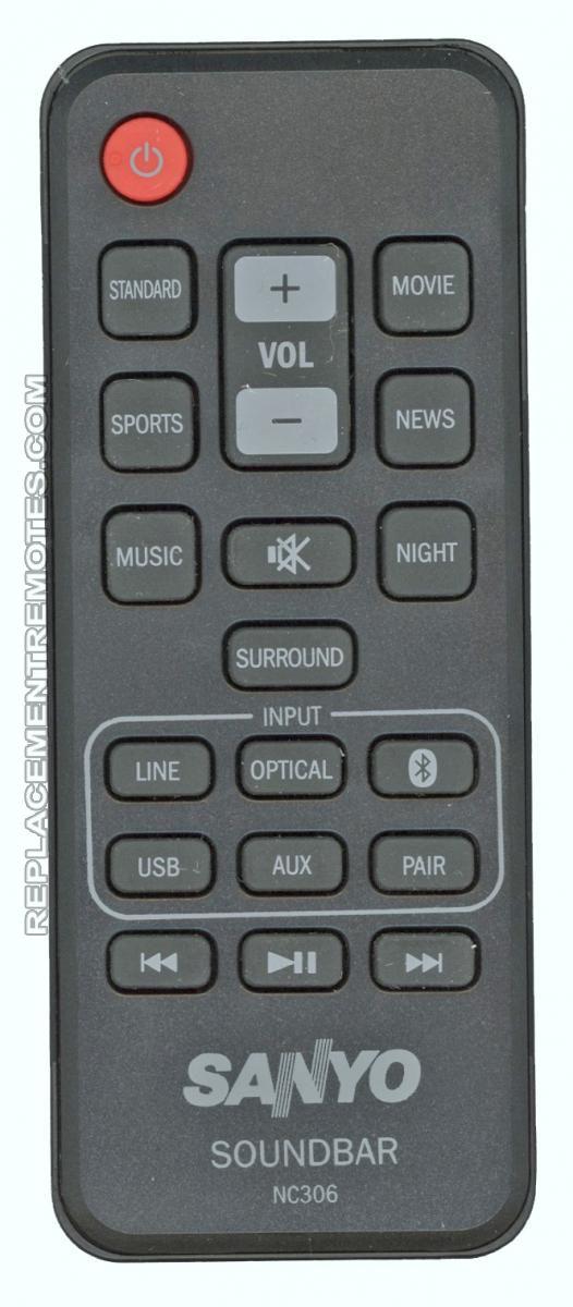 SANYO NC306 DVD Player Remote Control
