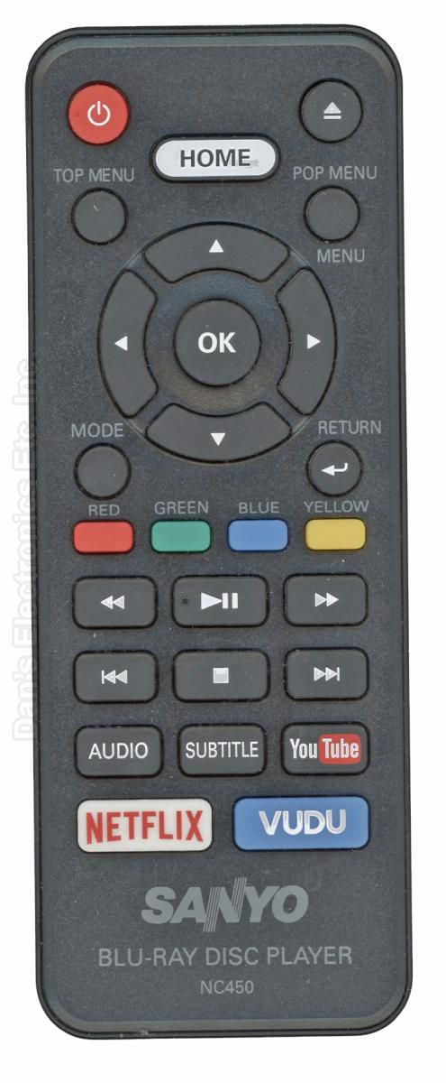 SANYO NC450 Blu-Ray DVD Player Remote Control