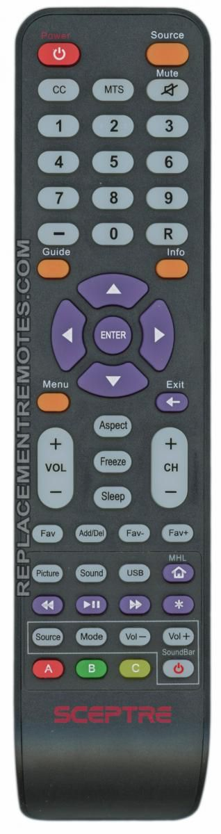 Sceptre 142021270009C Remote Control