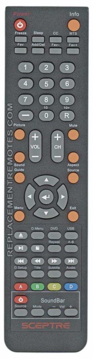 Sceptre X325BV-REM TV Remote Control