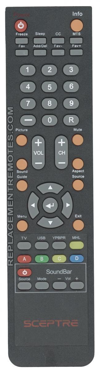 Sceptre 142022370003C TV Remote Control